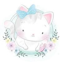 Cute kitty with floral illustration vector