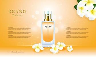 Concepto de flores de perfume cosmético de lujo con paquete 3d y ilustración de vector de fondo de brillo bokeh
