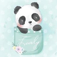 lindo panda sentado dentro de la ilustración de bolsillo vector