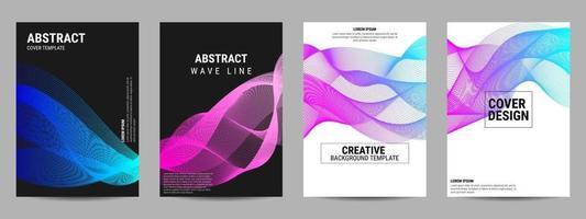 Cover design geometric wavy line vector