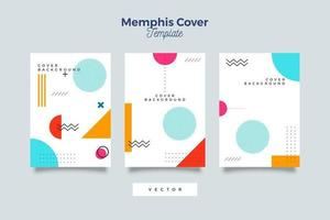 Abstract hipster memphis 90's pattern cover set