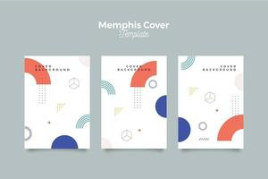 Abstract memphis 90's pattern cover set