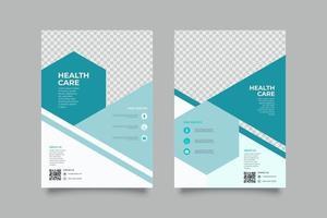Flat geometric flyer medical service template vector