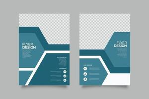 Template blue abstract business flyer vector