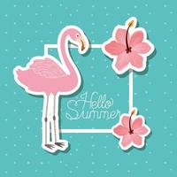 Hello summer and vacation stickers design vector