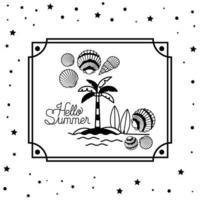 Hello summer design inside frame vector