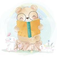 Cute bear with bunny illustration vector