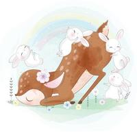 Cute deer playing with bunnies illustration vector