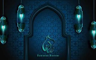 ramadan kareem calligraphy on blue ornate wall frame with lanterns vector