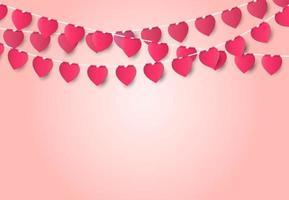 Tarjeta de felicitación del concepto de amor de San Valentín con forma de corazón sobre fondo rosa, estilo de arte de papel. vector