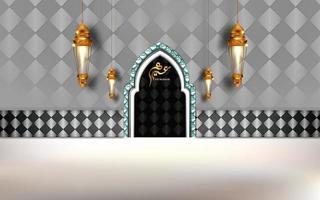 eid mubarak design with luxurious interior door scene vector