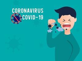 Detener los síntomas de la propagación de la enfermedad y prevenir el estornudo del coronavirus. vector