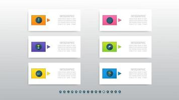 Infographic concept template design with 6 steps.