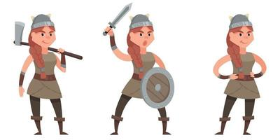 Viking in different poses. vector