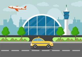 Airport Terminal Building with Aircraft Taking off and Different Transport Types Elements Templates Vector Illustration