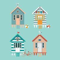conjunto de coloridas cabañas de playa con gaviotas, banderas, bicicleta sobre fondo azul. ilustración vectorial.