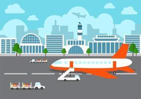 Edificio de la terminal del aeropuerto con aviones despegando y diferentes tipos de transporte elementos plantillas ilustración vectorial vector