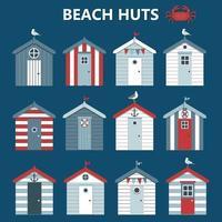 conjunto de coloridas cabañas de playa con gaviotas, banderas sobre fondo azul. ilustración vectorial.