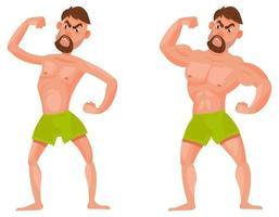 hombre antes y después de ir al gimnasio. vector