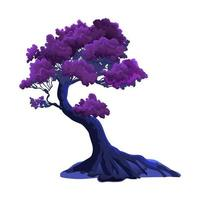 Illustration with purple curved fantasy tree isolated on white background. Burgundy or violet foliage and nightly fabulous colors vector
