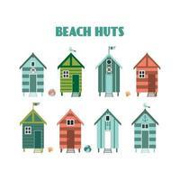 conjunto de coloridas cabañas de playa con gaviotas, banderas. ilustración vectorial.