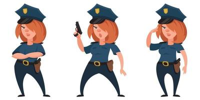 Female police officer in different poses.
