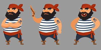 Bearded pirate in different poses. vector