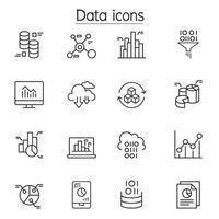 datos, gráfico, gráfico, icono de diagrama en estilo de línea fina vector