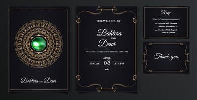 elegant wedding invitation cards set vector