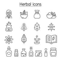 Herbal icons set in thin line style vector