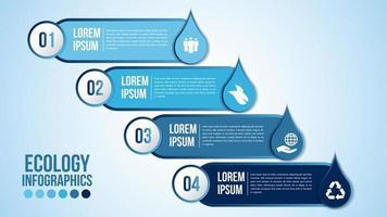 infografía eco agua azul elementos de diseño procesan 4 pasos u opciones partes con gotas de agua vector
