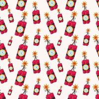 tnt explosion dynamite bomb seamless pattern illustration background vector