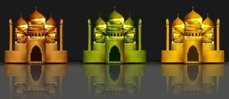 mosque collection 3d illustration vector