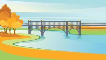 Bridge in the park. vector