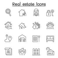 icono de bienes raíces en estilo de línea fina vector