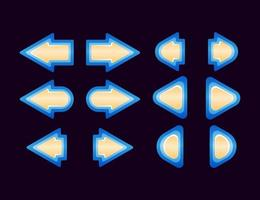 set of fantasy game ui button arrow vector illustration