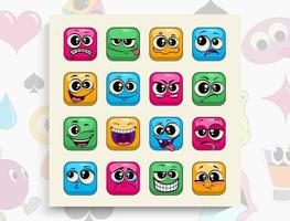 caras coloridas de divertidos dibujos animados. enfrentarse a las emociones. expresión facial. vector
