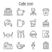 Coffee shop icons set in thin line style vector