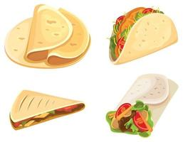 Set of mexican food items vector