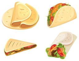conjunto de alimentos mexicanos vector