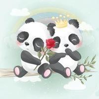 Cute panda couple illustration vector