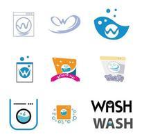 set of washing machine icon logo designs isolated on white background vector