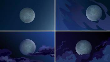 Moon in the night sky set vector