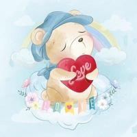 Cute bear sitting in the clouds illustration vector