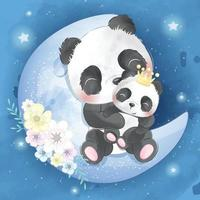Cute panda mother and baby illustration vector