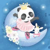Cute panda with bunny on the moon illustration vector