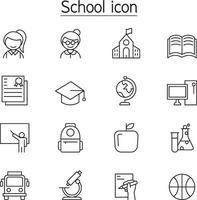 School and Education icon set in thin line style vector