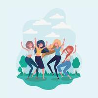 diseño de dibujos animados de amistad de chicas vector