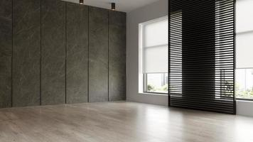Interior de una moderna sala de estar vacía en 3D rendering foto