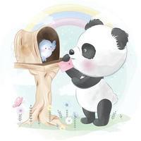 Cute panda with little bird illustration vector
